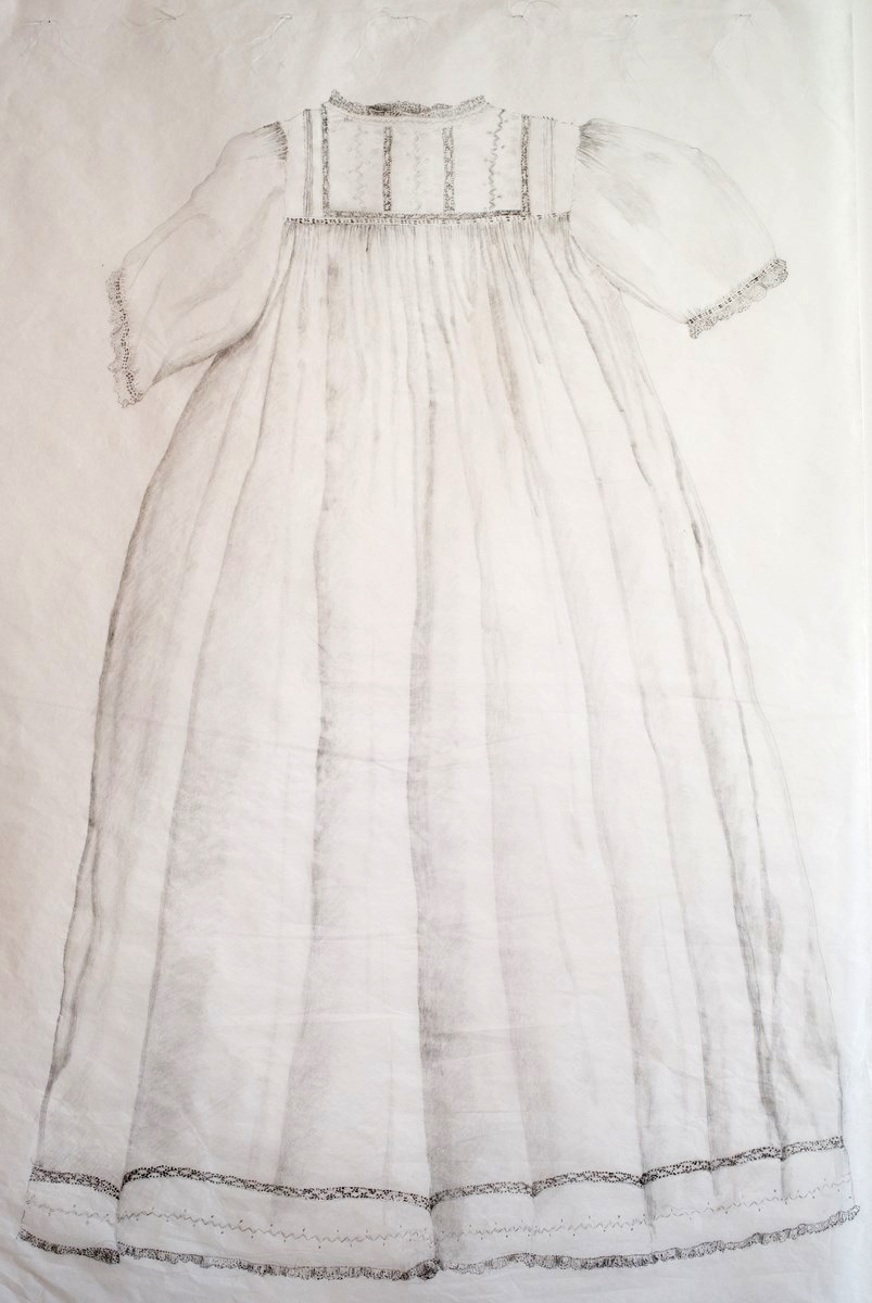 White dress drawing - Drawing Of Family Christening Dress On Tissue Sewn To White Paper